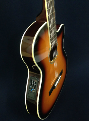 Caraya  Thin body Acoustic-Electric Classical Guitar Sunburst Blemished#85