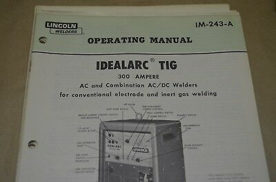 Lincoln Operating Manual - Idealarc Tig - Im-234-A