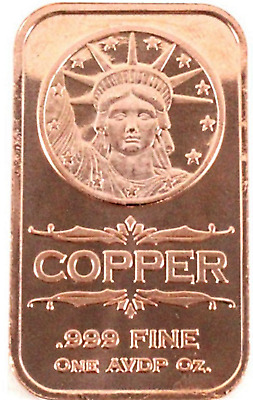 Pure .999 1 oz. Fine Copper Bar - Liberty Head