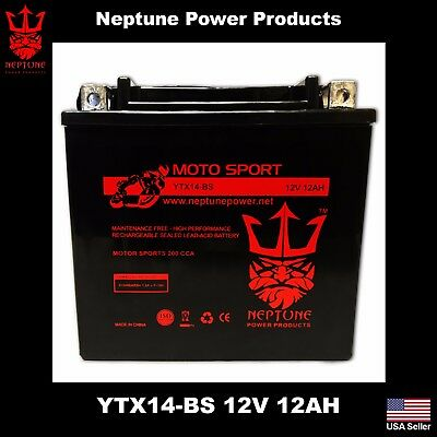 YTX14-BS Motorcycle Battery For Honda Shadow Suzuki V-Strom SV1000 YZF Triumph