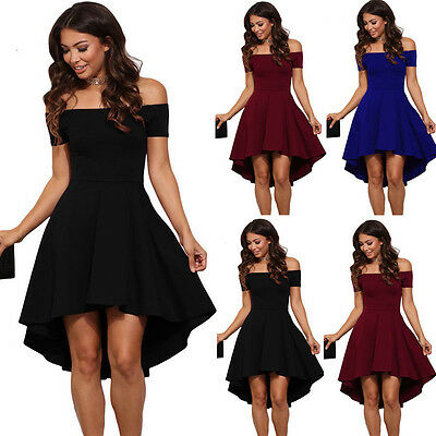 US Fashion Women Off Shoulder Short Sleeve Bodycon Dress Evening Party Cocktail