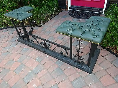 Antique Victorian Fireplace English Club Fender Wrought Iron with Leather Seats
