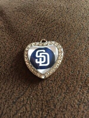 SAN DIEGO PADRES Heart Shaped Pendant For Necklace Crystals MLB Baseball