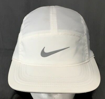 Nike AW84 Dri-Fit 5 Panel Running Tennis White Adjustable Strapback Hat Cap 5a4427b77d6