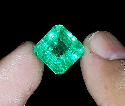 Excellent Natural 8.57 Ct Certified Square Shape Colombian Emerald Gemstone