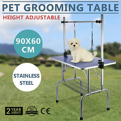 Foldable Pet Dog Grooming Table Adjustable Arm Non Slip Surface Portable Blue