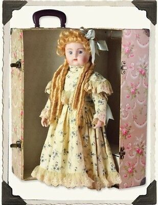 Victorian Trading Co Marigold Porcelain Doll Dress Bloomer Shoes Stand