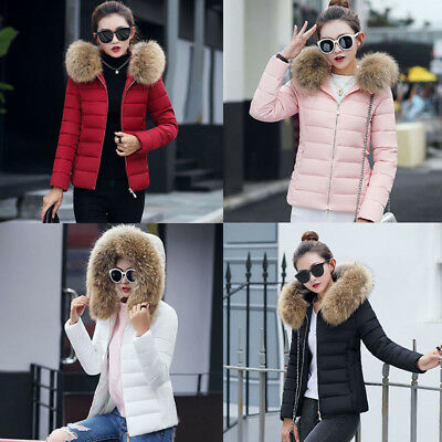 Women Winter Lot Cotton Warm Jacket Short Fur Collar Hooded Hairband Coat Parka