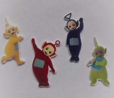 4 Teletubbies resin flatback embellishment, 35mm for cakes, crafts & bows