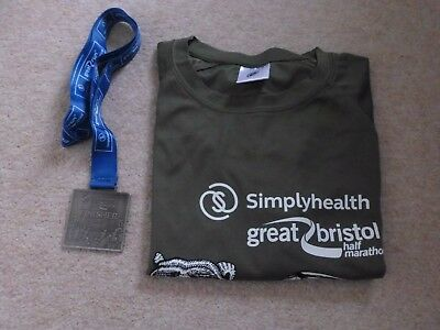 Bristol Half Marathon 2017 Official Finishers Medal and T-Shirt (Size Small)