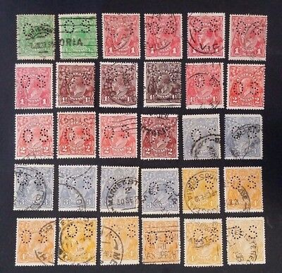 Rare 1914- Australia Lot of 30 X KGV Stamps Used O S Perfs Unchecked Inc Die 2