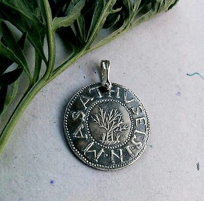 Pendant1692 Salem Witch Trial Oak Tree Silver Shilling Massachusetts New England