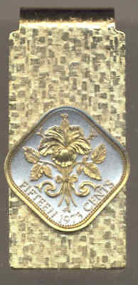Bahamas 15 Cent Hibiscus Coin Gold on Silver Hinge Money Clip Free US Shipping