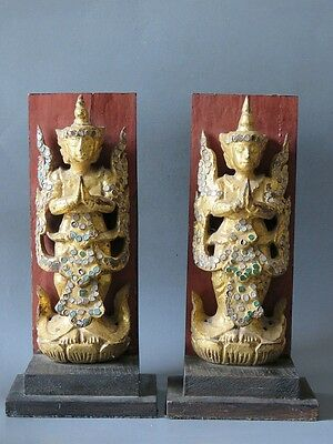 Beautiful & Rare Antique Burmese Wooden Burma With Stand Don't Miss!