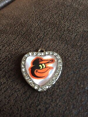 BALTIMORE ORIOLES   Heart Shaped Pendant For Necklace Crystals MLB Baseball