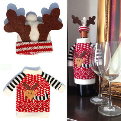 Christmas Reindeer Santa Wine Liquor Bottle Cover Bag Dinner Table Decor Gift