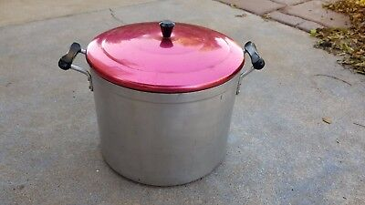 Retro Vintage Collectable Red Anodised Lid Large Cooking Pot