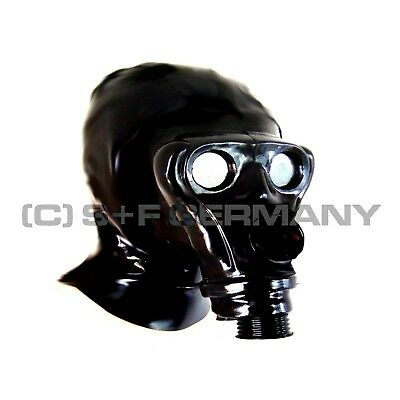 Gas Mask Ape-Typ Latex Zipper Hood W. Hairguard Latexmask For Top Catsuit Rubber