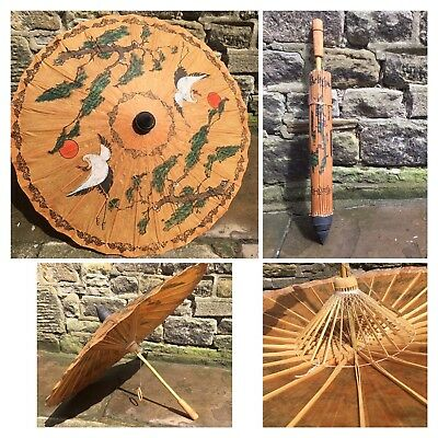 Vintage Ornate Japanese Umbrella 🌂 Brown Paper Handcrafted Hand Painted