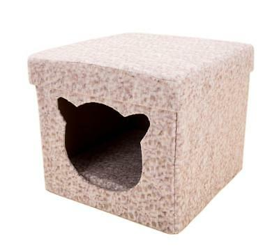 2 in 1 Collapsible Storage Ottoman Pet House and Soft Stool Cat Small Dog