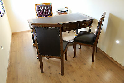 Antique French Empire Style Desk With 2 Chairs And Armchair - Office And Home