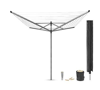 Brabantia Lift-O-Matic Rotary Clothes Airer with Accessories 50m Clothes Line
