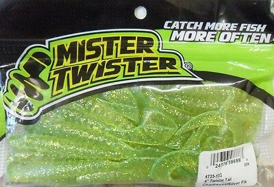 """Mister Twister Twister Tails 6"""" - Chartreuse/Silver - Soft Plastic Lures"""
