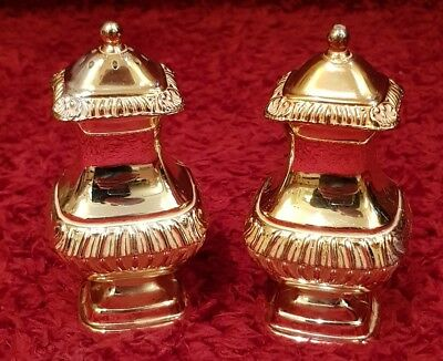 Vintage/Antique Silver Plated Grenadier Salt and Pepper Cruet Set-Shiny Gold.