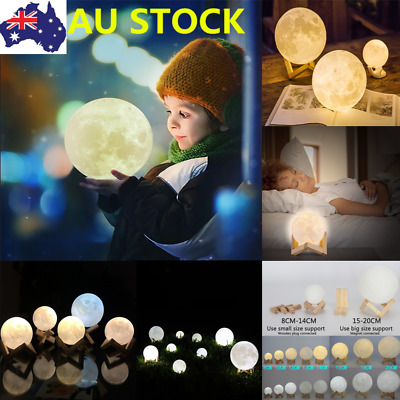 Dimmable 3D Magical Moon Lamp  USB LED Night Light Moonlight Gift Touch Sensor