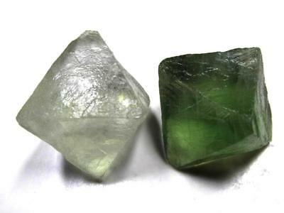 FLUORITE OCTAHEDRON CRYSTALS x 2 TOTAL 56g [280Ct]  MF9099