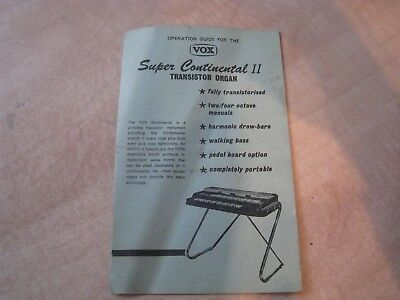 Vox Continental organ papers circa: 1960s in great original condition real 60s !