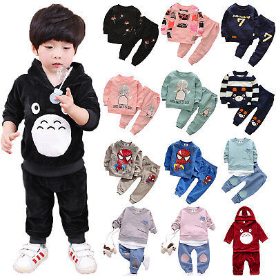 2PCS Toddler Kids Baby Girl Boy Hoodie Sweatshirt Tops+Pants Outfits Clothes Set