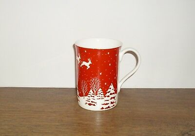 "LAURA ASHLEY HAND DECORATED CHRISTMAS FINE BONE CHINA MUG (Approx 4"")."