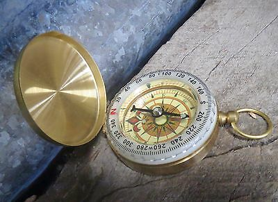 Compass brass pocket steampunk vintage look gift retro gentlemen