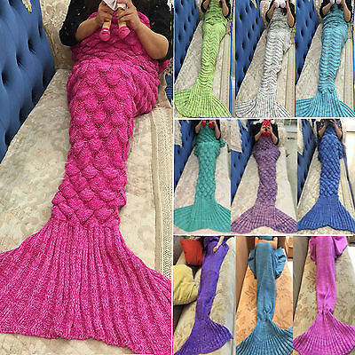 Mermaid Tail Crochet Blanket Sofa Rug Knit Handmade Soft Sleeping Bag Xmas Gifts