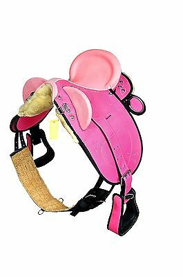 CUPID PINK Kids Synthetic STOCK Saddle ( fully Mounted) Size- 13""