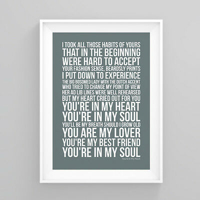 Rod Stewart You're In My Heart Lyrics Poster Print Wall Song Artwork