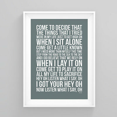 Red Hot Chili Peppers Snow Lyrics Poster Print Wall Song Artwork