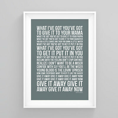 Red Hot Chili Peppers give it away Lyrics Poster Print Wall Song Artwork