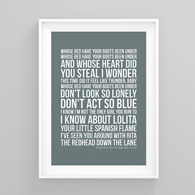 Shania Twain Whose Bed Have Your Boots Been Under? Lyrics Poster Print Wall Song