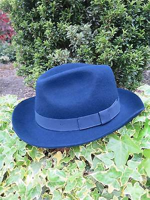 1940s Forties 1950s Vintage Style Blue 100% Wool Felt Fedora Large Trilby sz XL