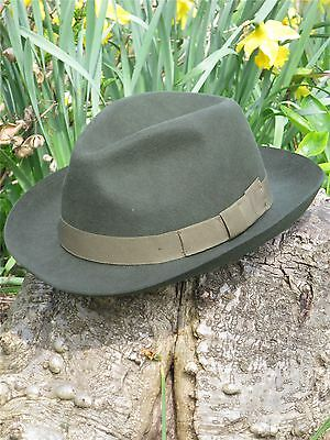 1940s Forties 1950s Vintage Style Green 100% Wool Felt Fedora Large Trilby sz XL