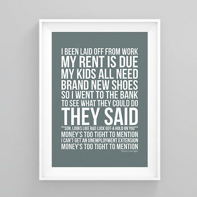 Simply Red money's too tight Lyrics Poster Print Wall Song Artwork