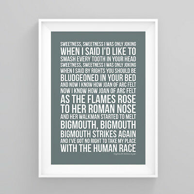 The Smiths Bigmouth Strikes Again Lyrics Poster Print Wall Song Artwork