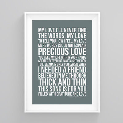 Simply Red you make me feel brand new Lyrics Poster Print Wall Song Artwork