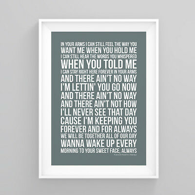 Shania Twain Forever And For Always Lyrics Poster Print Wall Song Artwork