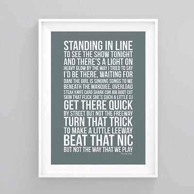 Red Hot Chili Peppers By the Way Lyrics Poster Print Wall Song Artwork