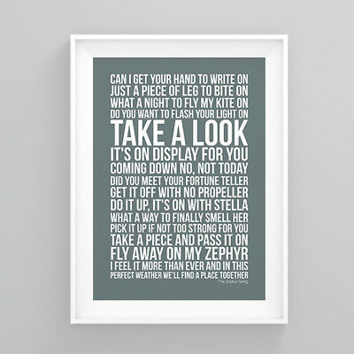 Red Hot Chili Peppers The Zephyr Song Lyrics Poster Print Wall Song Artwork