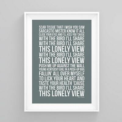 Red Hot Chili Peppers Scar Tissue Lyrics Poster Print Wall Song Artwork