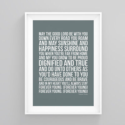 Rod Stewart Forever Young Lyrics Poster Print Wall Song Artwork